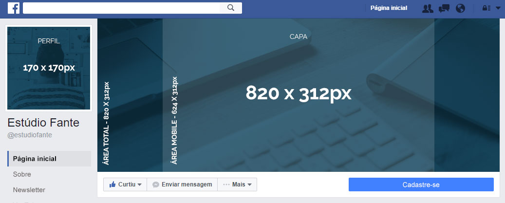 Medida de capa para Facebook 2017